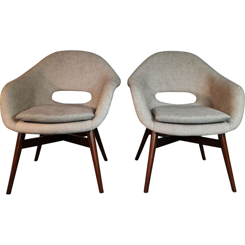 Pair of shell armchairs by Miroslav Navratil 1960s