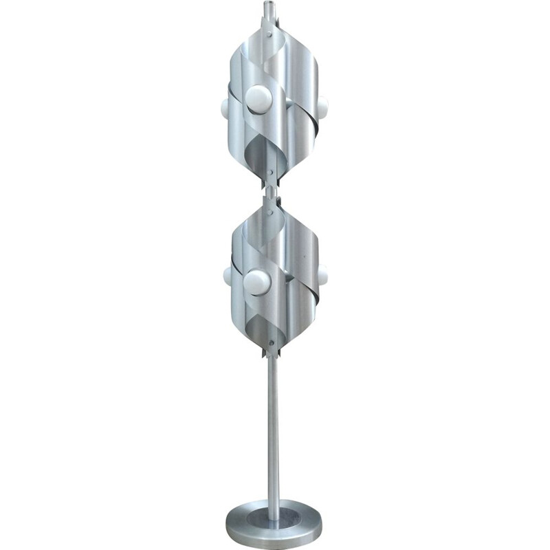 Vintage floor lamp space age in brushed aluminium 6 burners 1970