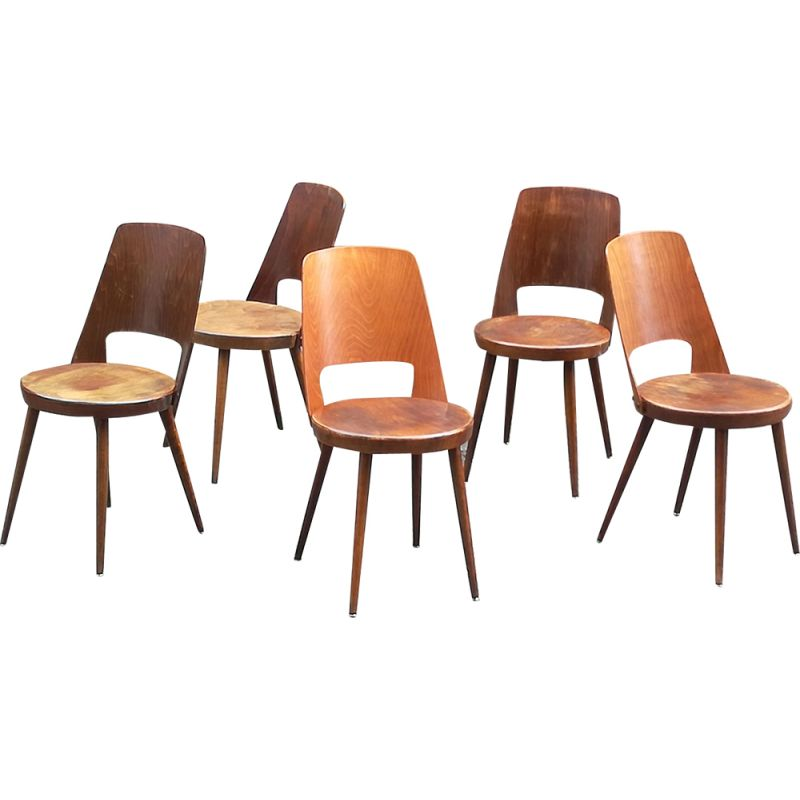 Set of 5 beech chairs vintage Bistro Baumann Mondor