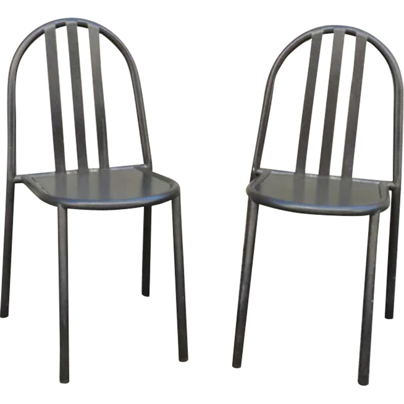 2 vintage black metal chairs by mallet Stevens