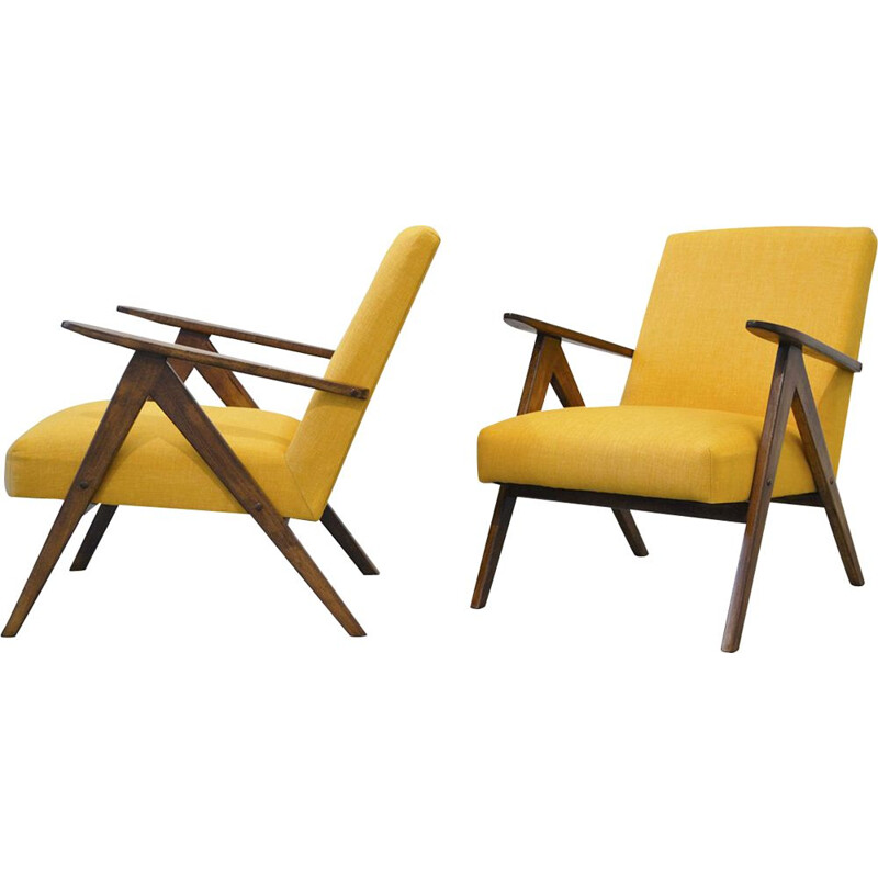 Set of 2 vintage armchairs B-310 VAR for Fabryki Mebli Gietych Radomsko in yellow fabric 1950s