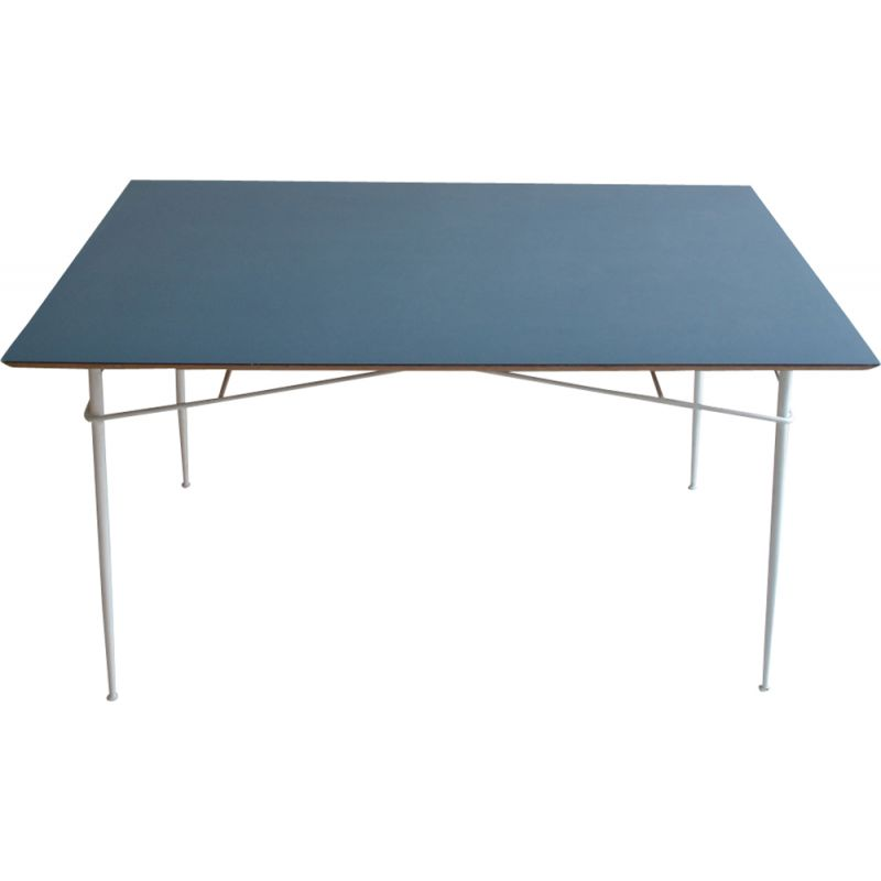 Vintage table by Lancel for Primavera in wood and metal 1950