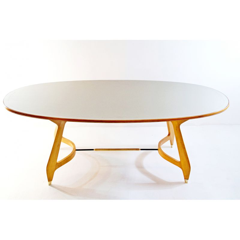 Vintage Oval Dining Table With Glass Top 1950 Design Market