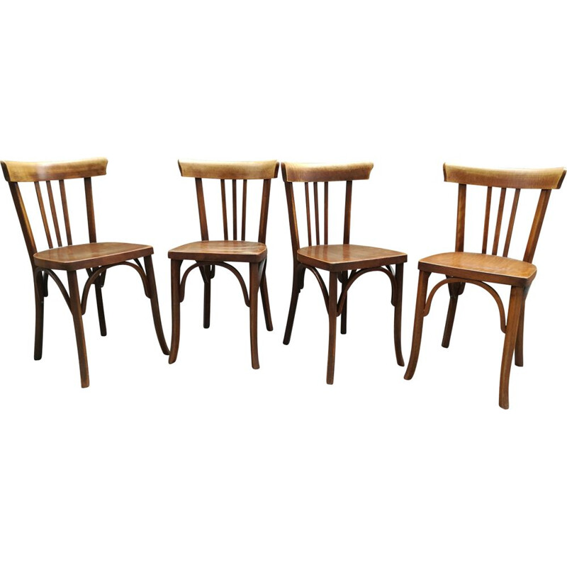 Set of 4 vintage chairs café Luterma France 1960s