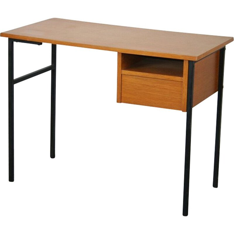 Vintage desk wood and metal 1950s