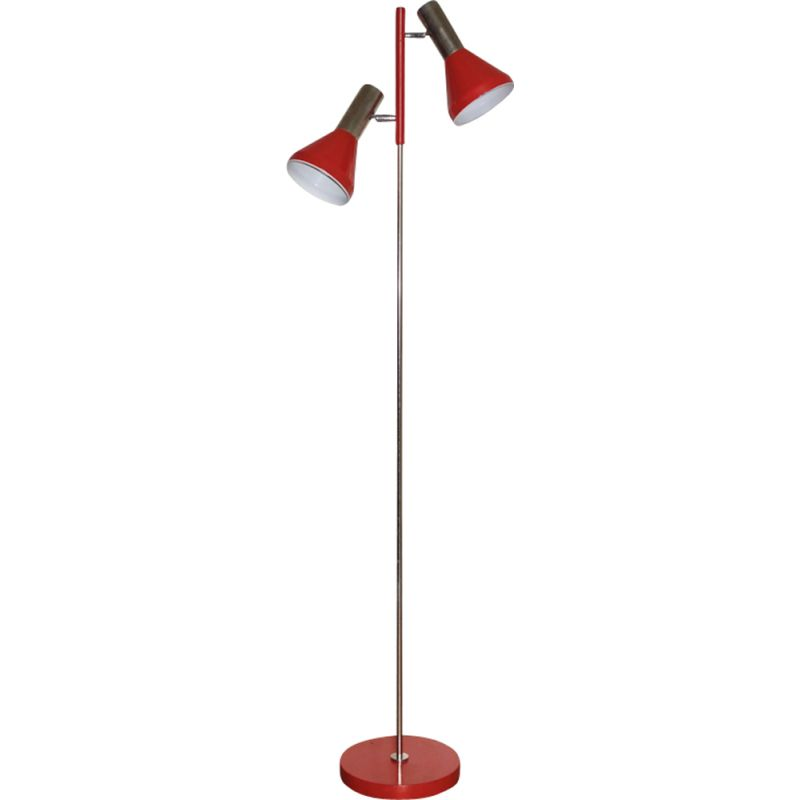 Vintage floor lamp red model 280 Fischer Leuchten 1970s