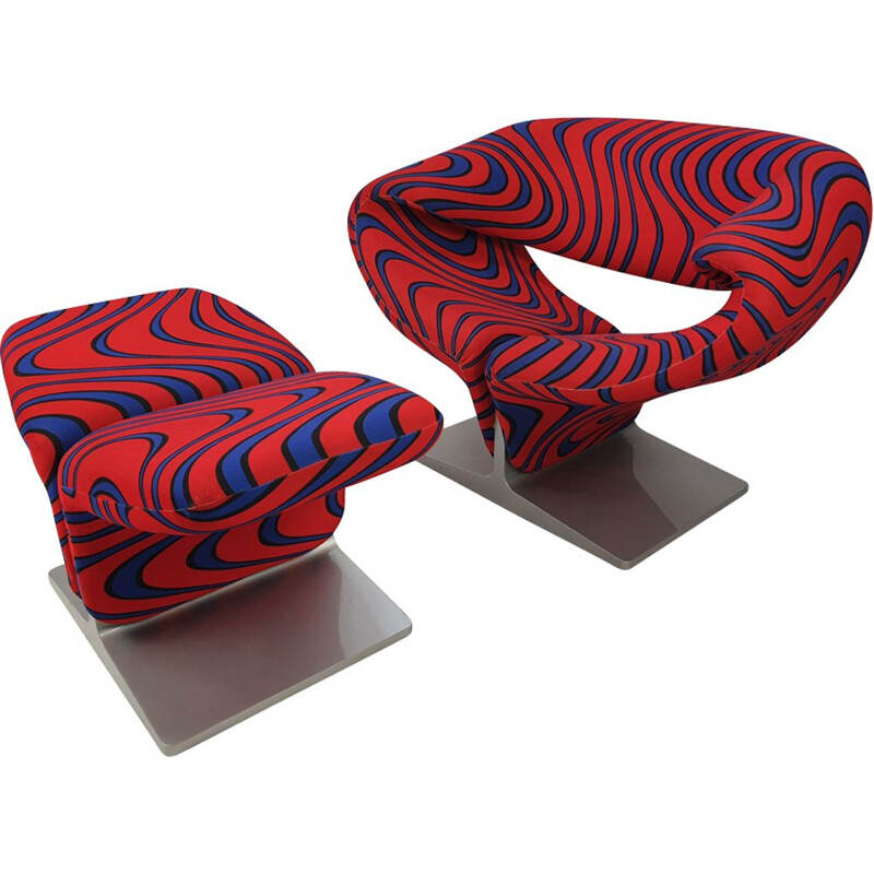 Vintage armchair & ottoman Ribbon by Pierre Paulin for Artifort, 1980s