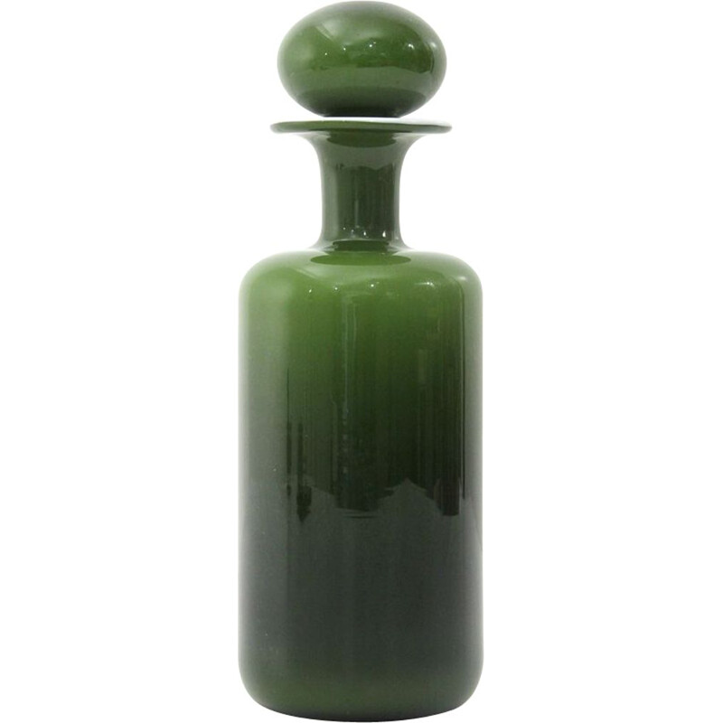 Vintage vase green and white by Otto Brauer for Holmegaard, 1960s