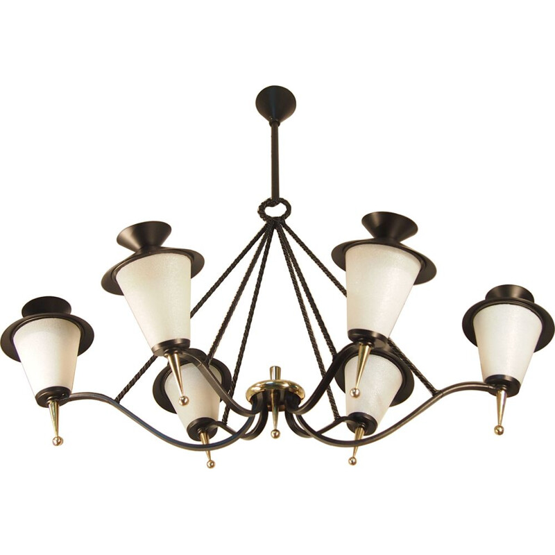 Vintage gold and black Arlus chandelier