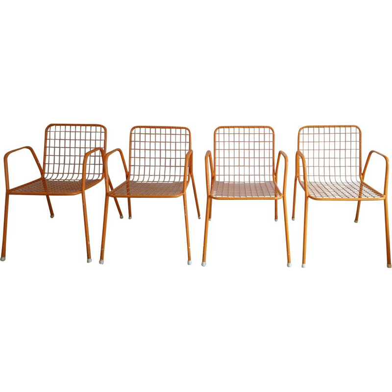 Set of 4 orange Rio chairs by EMU