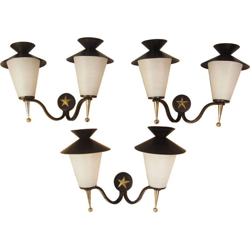 Set of 3 gold and black Arlus wall lamps