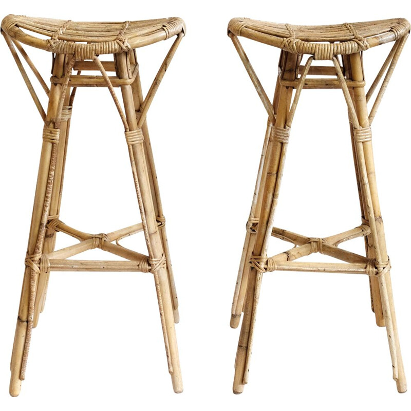 Pair of vintage high stools in rattan