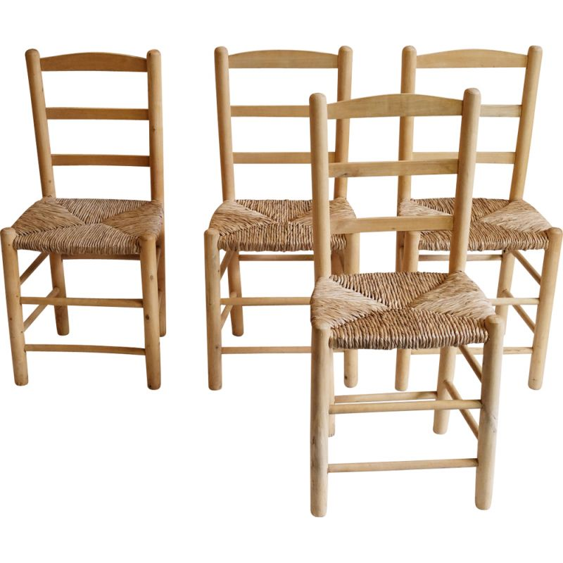Set of 4 chairs in blond wood and straw