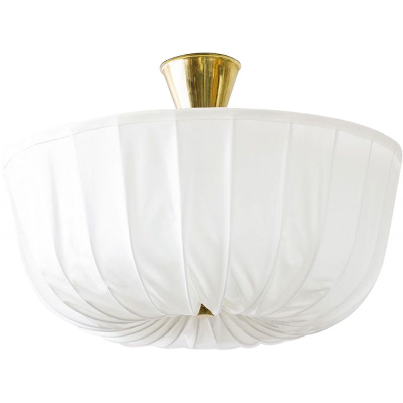 Vintage white ceiling lamp in brass and opaline