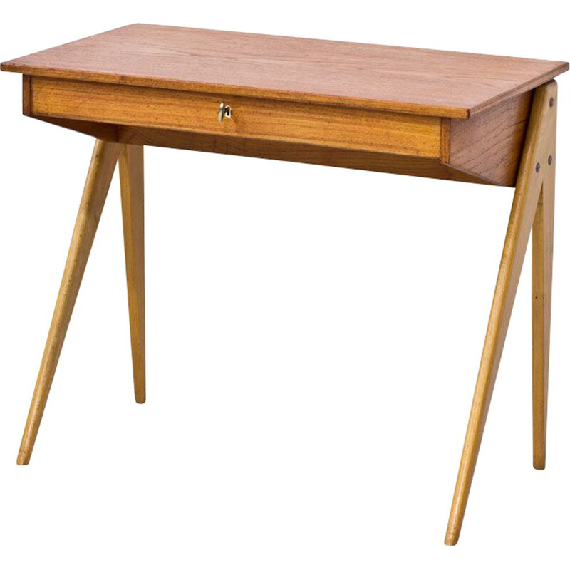 Small desk in beech and teak by Yngve Ekström for ESE Möbler