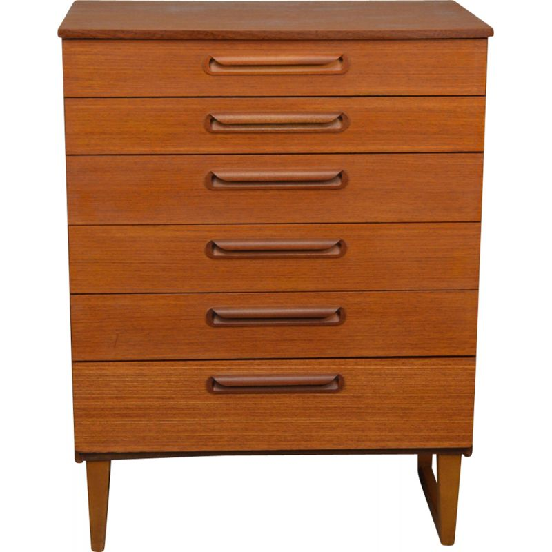 Vintage teak chest of 6 drawers by Schreiber
