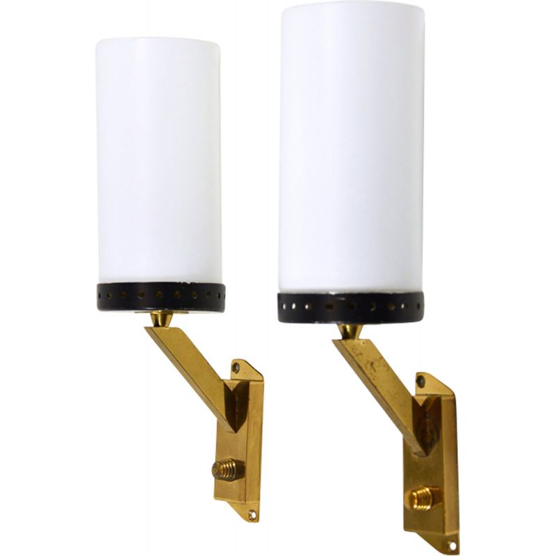 Pair of vintage wall lamps Italy 1950s