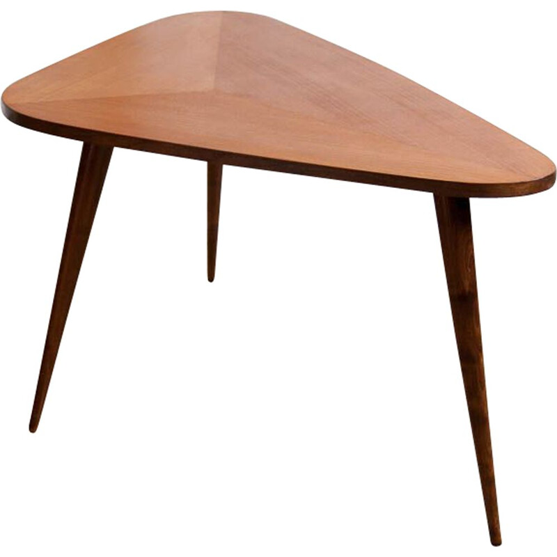 Vintage coffee table in teak tripod Scandinavian 1960s