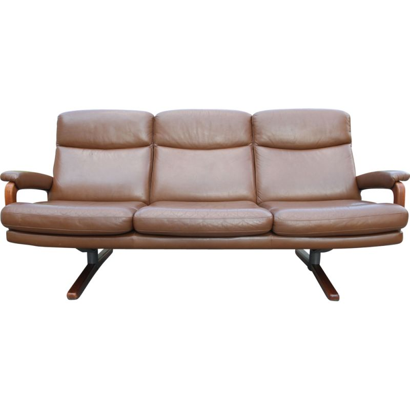 Vintage 3-seater sofa in brown leather Swiss 1950s