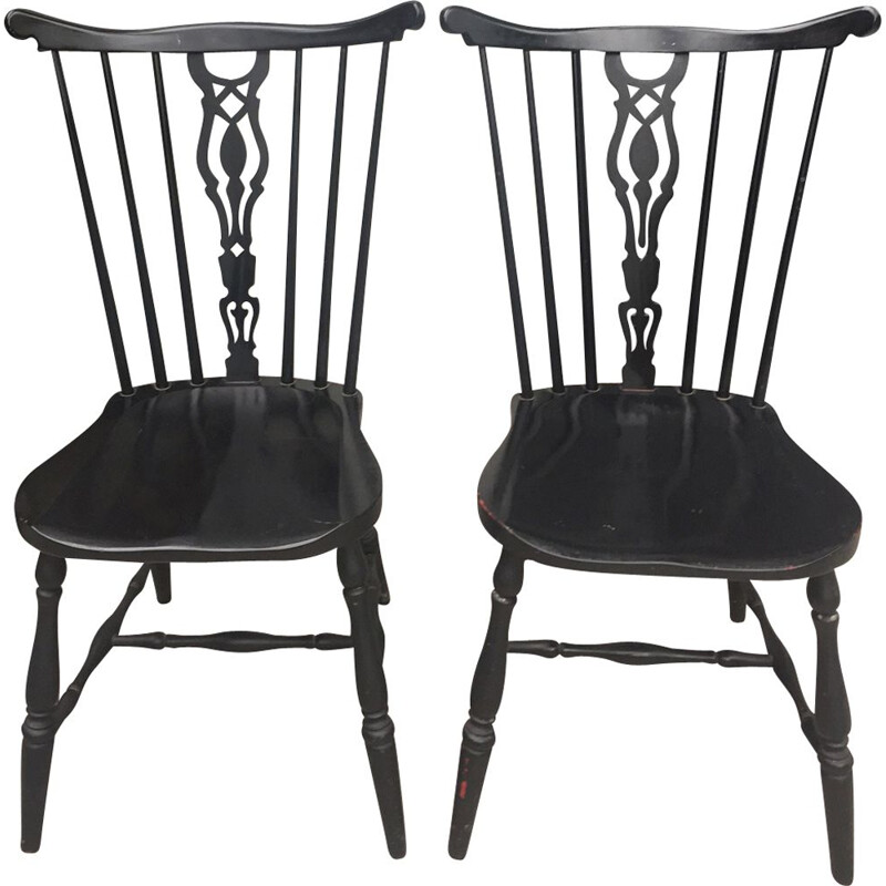 Pair of black lacquered wooden Dining chairs by Gemla Diö, Sweden,1950