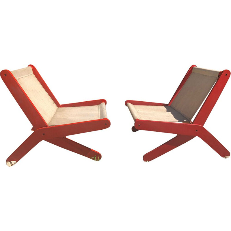Pair of french red folding vintage armchairs 1950