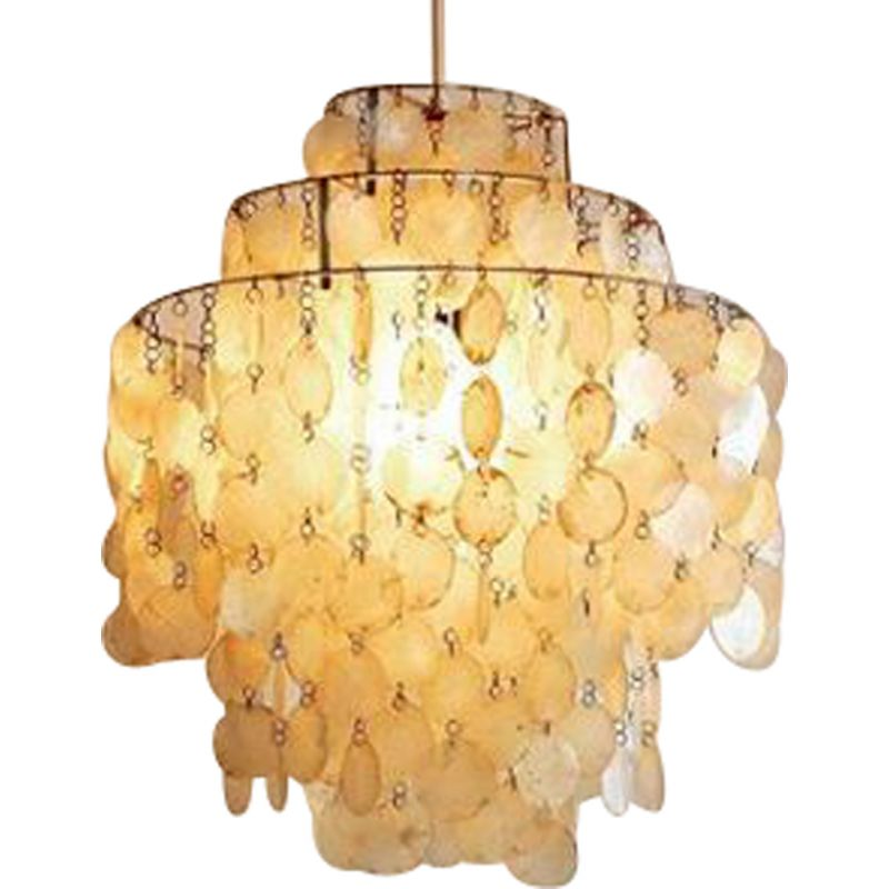 Vintage fun 1DM chandelier by Verner Panton in white mother-of-Pearl and metal 1960