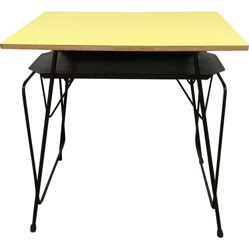 Vintage desk by Willy van der Meeren in metal and yellow formica 1950