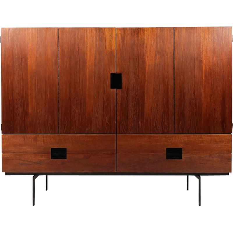 Vintage CU04 highboard for UMS Pastoe in teak and steel 1950