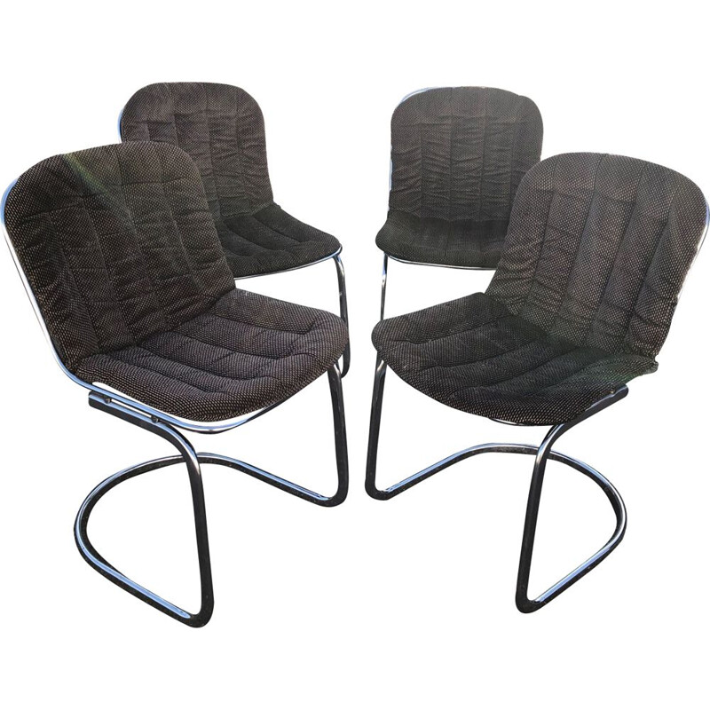 Set of 4 vintage chairs by Rinaldi in velvet and chrome 1970