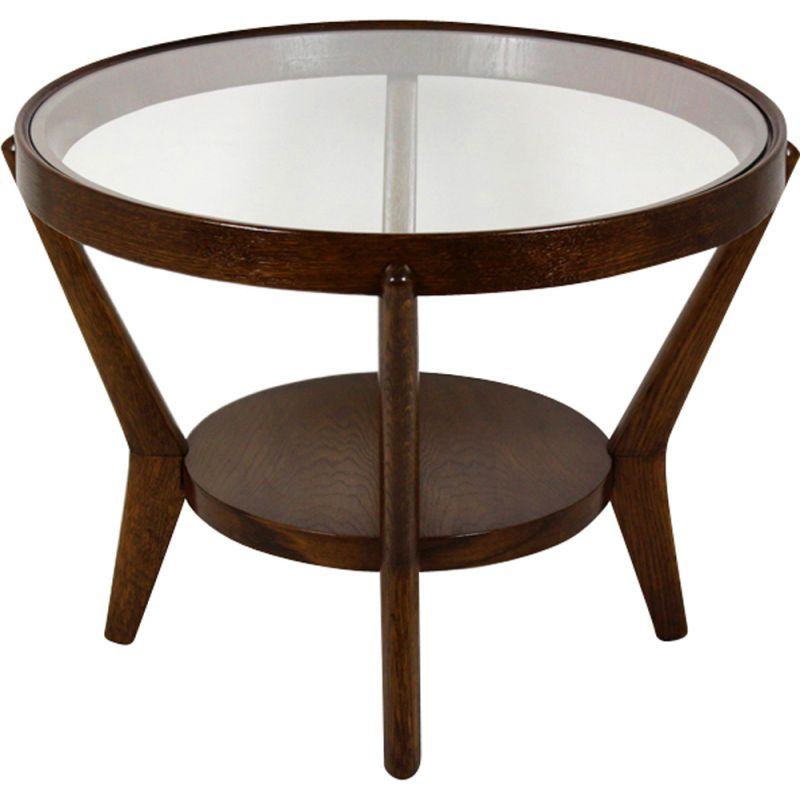 Vintage round table for Interier Praha in oakwood 1940