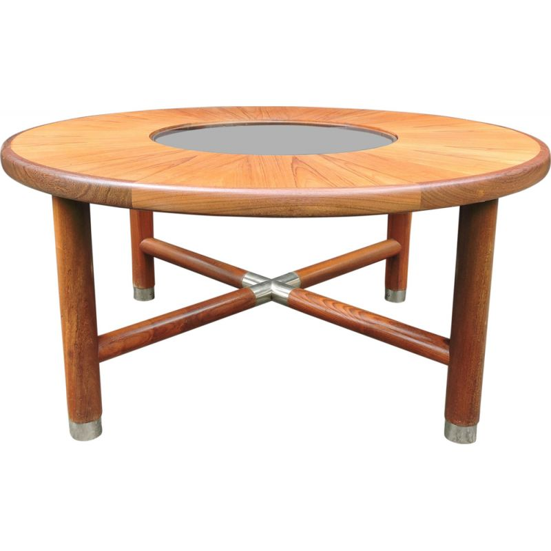 Vintage round coffee table for G-Plan in teakwood and glass