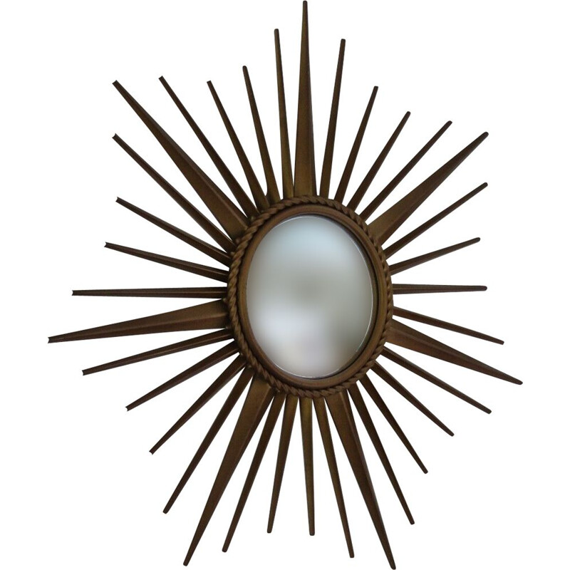 French vintage sun mirror in gold metal 1960
