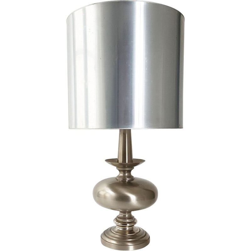 French vintage lamp in silver steel 1970