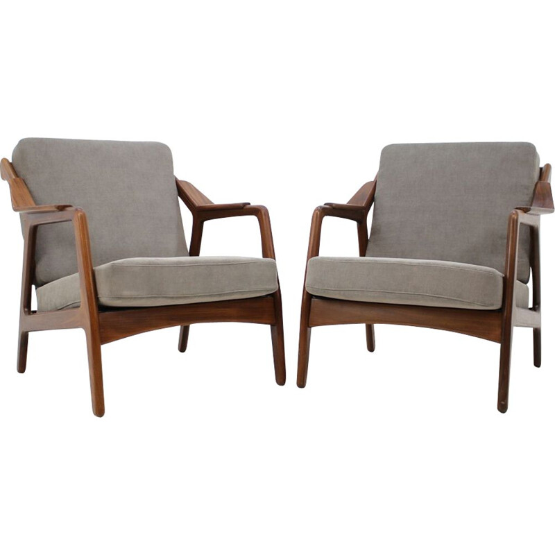 Set of 2 vintage armchairs by Petersen in grey fabric and wood 1970
