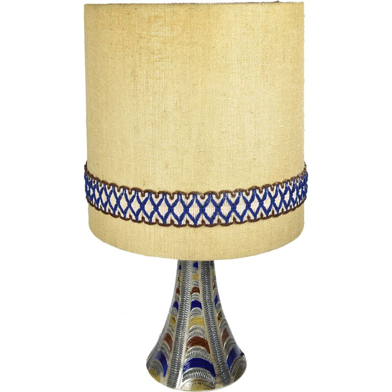Vintage german lamp in fabric and ceramics 1960
