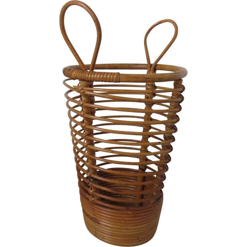 Vintage umbrella holder in rattan from the 60s