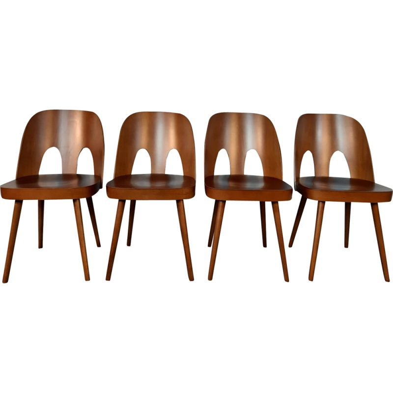 Set of 4 vintage chairs in beech by Oswald Haerdtl for Ton Czechoslovak 1950s