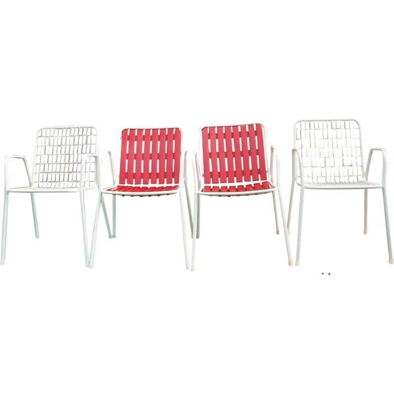Set of 4 vintage garden chairs Emu model Rio Italy 1960s