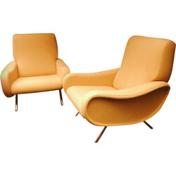 Pair of Arflex wooden and fabric armchairs, Marco ZANUSO - 1950s