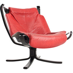Vatne Mobler wooden and red leather armchair, Sigurd RESSELL - 1960s
