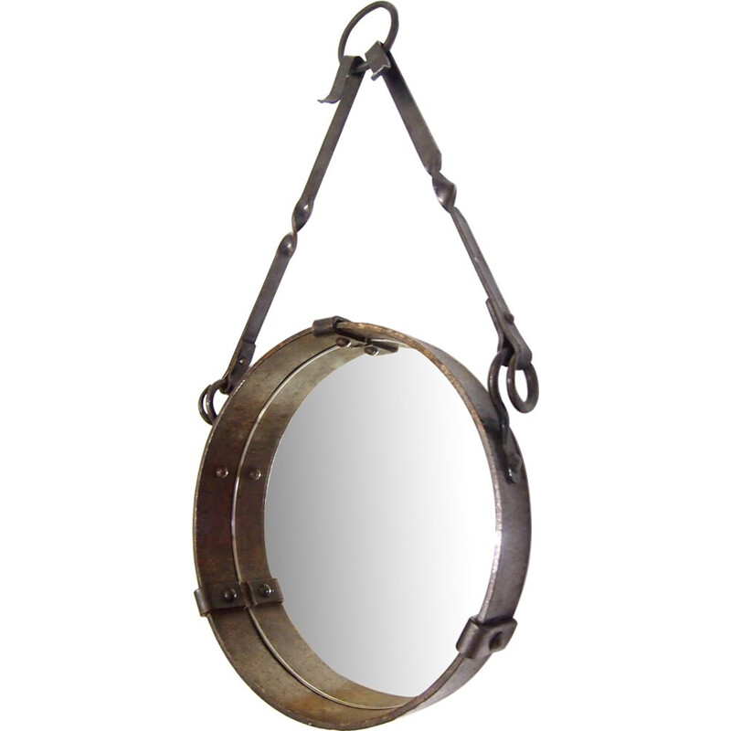 Vintage round mirror by Jacques Adnet,1940