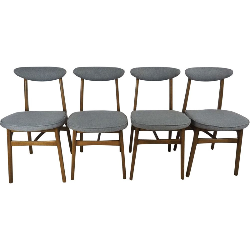 4 vintage dining chairs by R. T. Hałas,1960