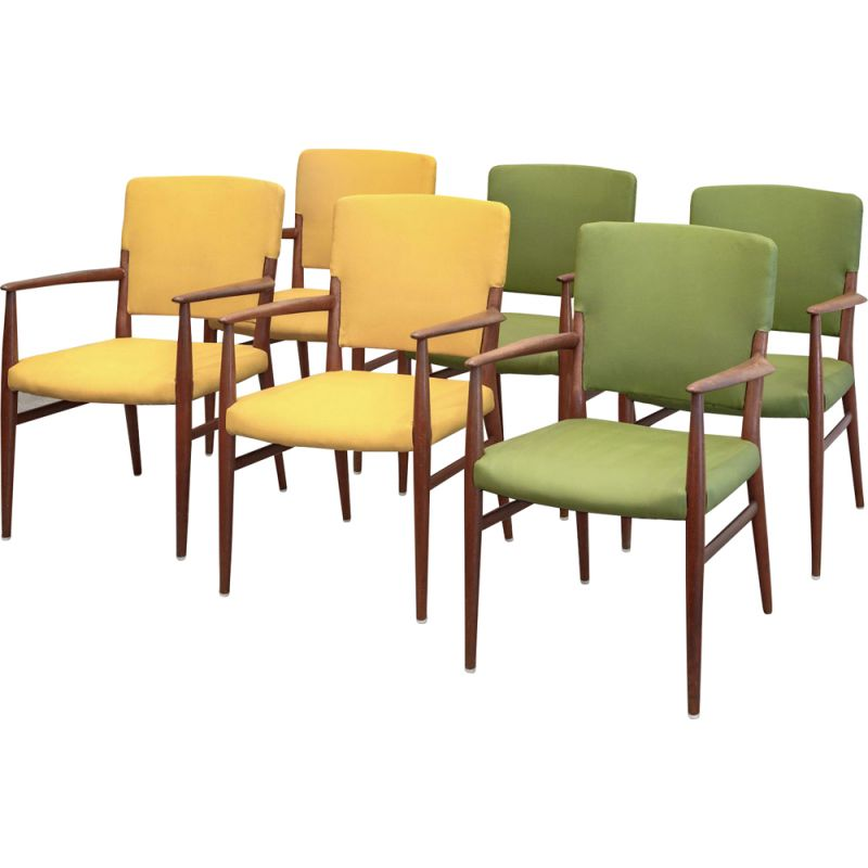 Set of 6 Scandinavian armchairs from the 60s