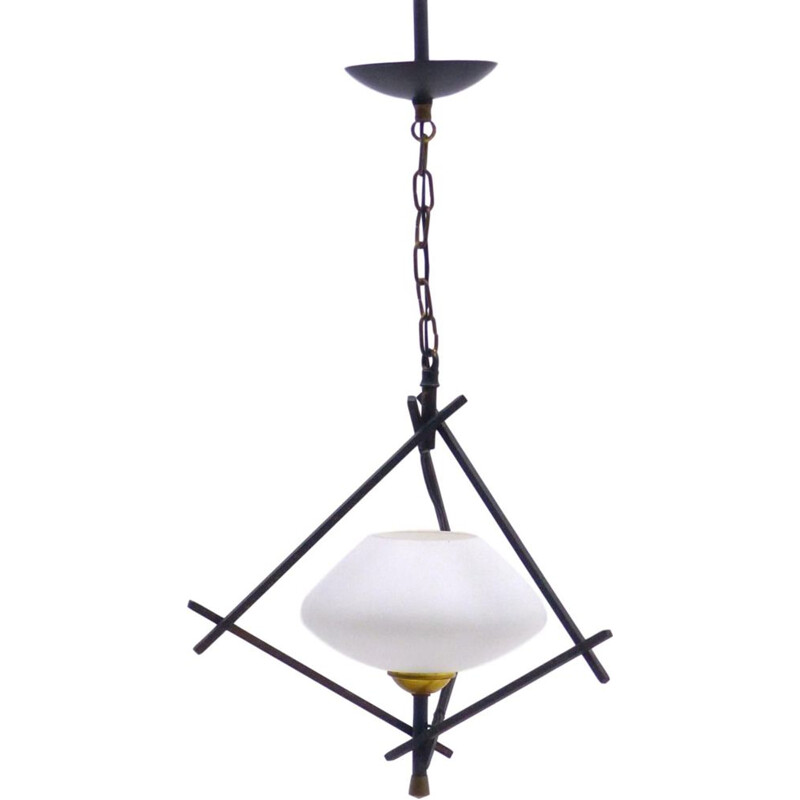 Vintage iron and opaline pendant lamp 1950