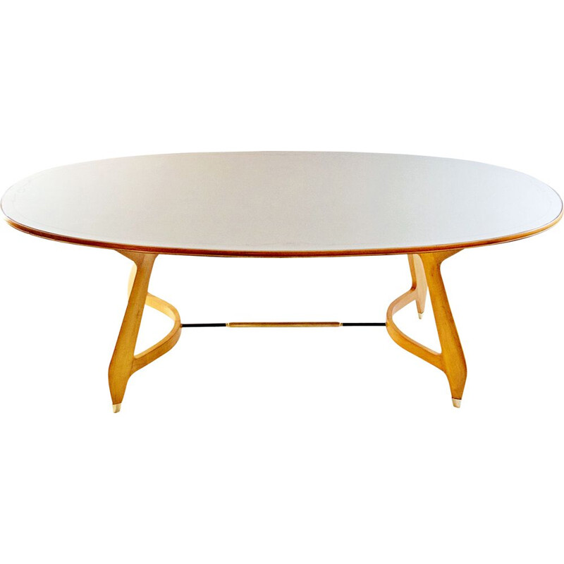 Vintage Oval Dining Table with glass top 1950