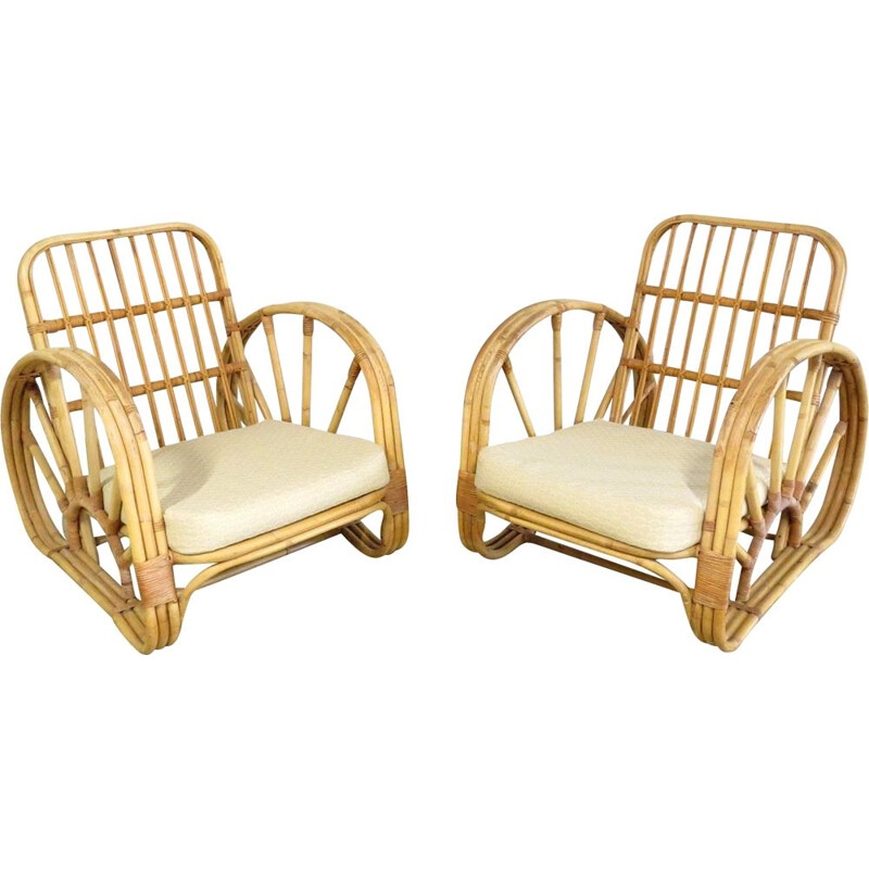 Set of 2 rattan lounge chairs, 1960s