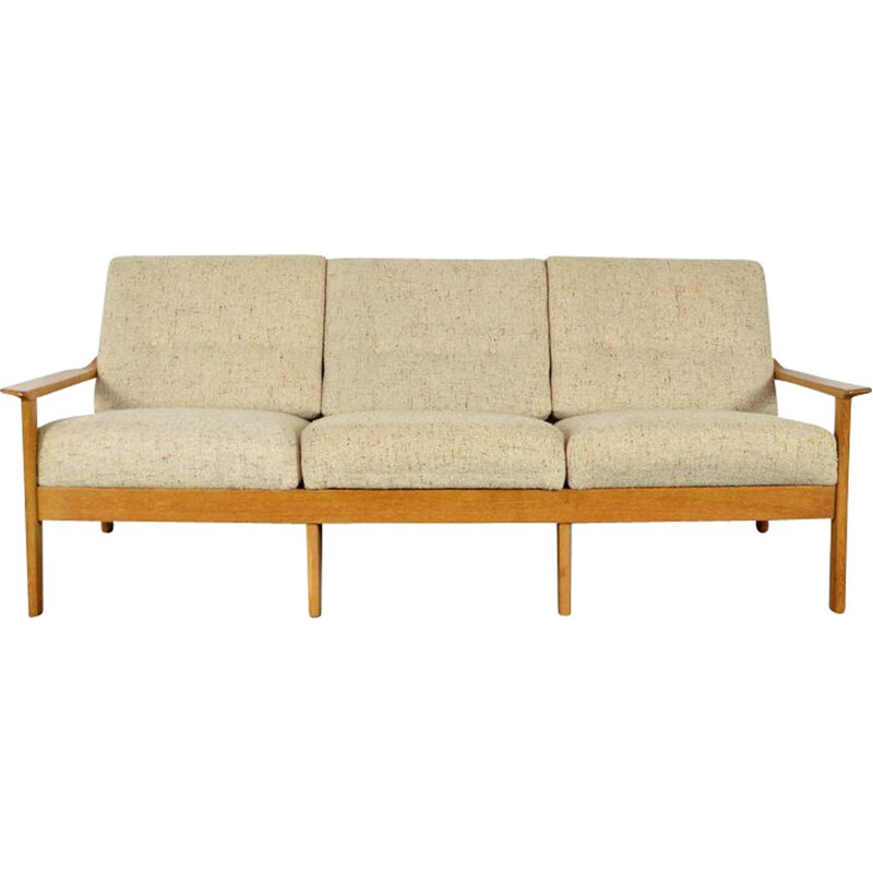 Vintage 3 seater sofa in blond oak 1960