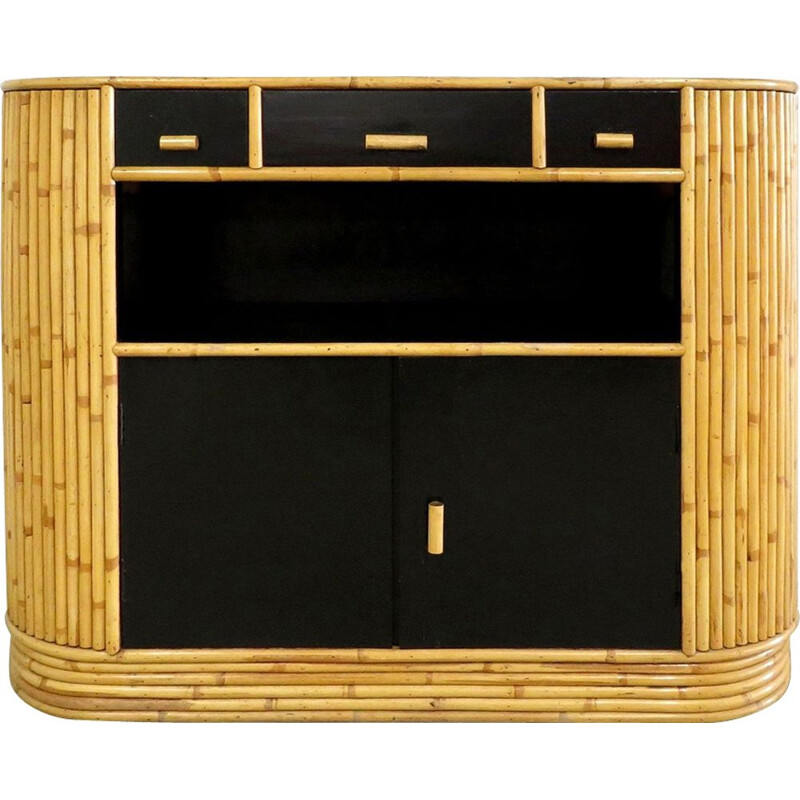 Vintage rattan and lacquered wood Sideboard 1960s