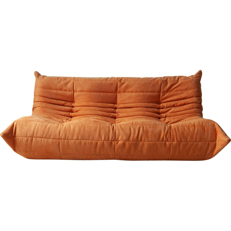 Vintage 3-Seater Sofa Togo Orange Microfibre by Michel Ducaroy for Ligne Roset 1970s