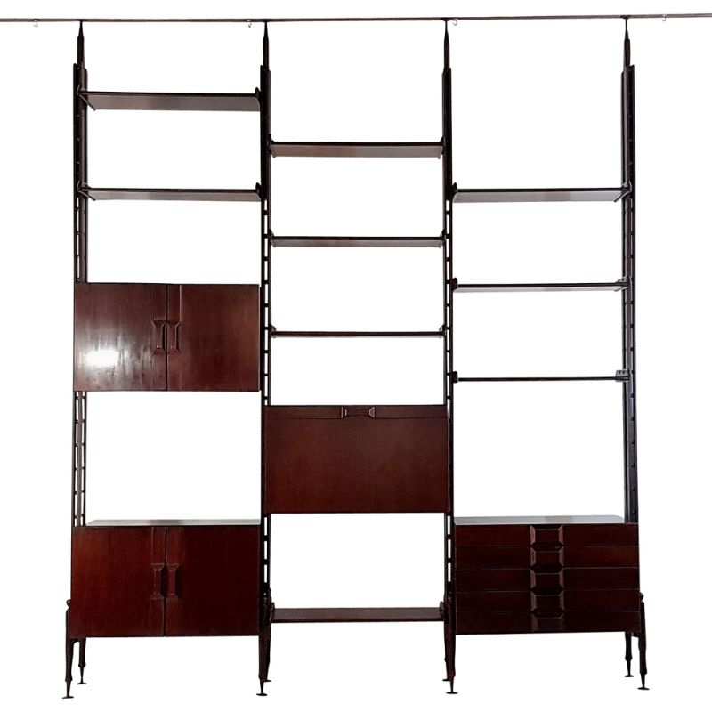 Vintage wall unit bookcase Italy 1950s